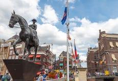 Amsterdam. Monument to Queen Wilhelmina. Stock Image