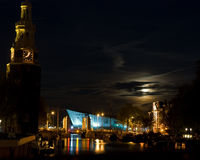 Amsterdam by moonlight. Night scenery canals and nemo, Amsterdam by moonlight Royalty Free Stock Image
