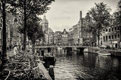 Amsterdam mosty i kanały Obraz Royalty Free