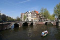 amsterdam na łodzi Obrazy Royalty Free