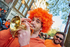 Amsterdam  natives and tourists celebrate Queen's or King's day Stock Photography