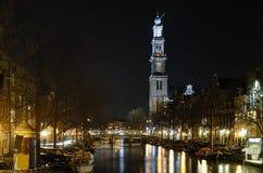 amsterdam natt Fotografering för Bildbyråer