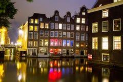 Amsterdam nattplats Arkivfoto