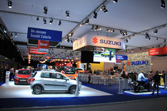 Amsterdam Nederländerna - April 23, 2015: Suzuki Stand på exh Arkivfoto
