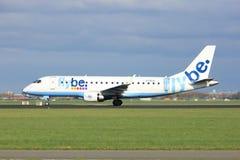 Amsterdam Nederländerna - April 7th, 2017: G-FBJG Flybe Arkivfoto