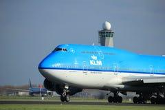 Amsterdam Nederländerna - April 7th, 2017: PH-BFI KLM Boeing 747 Fotografering för Bildbyråer