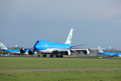Amsterdam Nederländerna - April 7th, 2017: PH-BFT KLM Boeing 747 Royaltyfri Fotografi