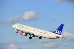Amsterdam Nederländerna - April 7th, 2017: Skandinavflygbolag för OY-KBL SAS Arkivbilder