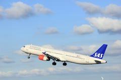 Amsterdam Nederländerna - April 7th, 2017: Skandinavflygbolag för OY-KBL SAS Arkivfoto