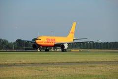 Amsterdam Nederländerna - Augusti, 18th 2016: D-AEAP ÄTER den Leipzig flygbussen A300B4-622R Arkivbilder