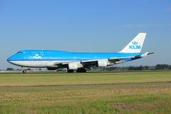 Amsterdam Nederländerna - Augusti, 18th 2016: Flygbolag Boeing 747-406M för PH-BFD KLM Royal Dutch Royaltyfria Bilder