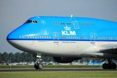 Amsterdam Nederländerna - Augusti, 18th 2016: Flygbolag Boeing 747-406M för PH-BFU KLM Royal Dutch Fotografering för Bildbyråer