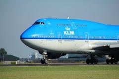 Amsterdam Nederländerna - Augusti, 18th 2016: Flygbolag Boeing 747-406M för PH-BFU KLM Royal Dutch Royaltyfria Foton