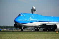 Amsterdam Nederländerna - Augusti, 18th 2016: Flygbolag Boeing 747-406M för PH-BFV KLM Royal Dutch Royaltyfria Bilder