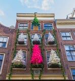 Amsterdam Nederländerna - December 14, 2017: Fasaden av det gamla huset på Amsterdam Arkivbilder