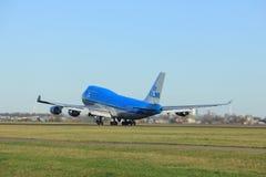 Amsterdam Nederländerna - Januari 7th 2018: PH-BFC KLM Boeing 747 Arkivfoton