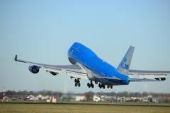 Amsterdam Nederländerna - Januari 7th 2018: PH-BFY KLM Boeing 747 Arkivbilder