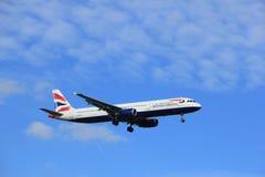 Amsterdam Nederländerna, Juli, 15th 2016: Flygbuss A321 för G-EUXK British Airways Arkivfoto