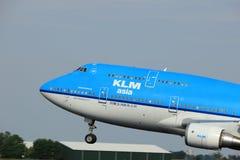 Amsterdam Nederländerna - Juni 2nd, 2017: PH-BFY KLM Boeing 747-406 Arkivfoto