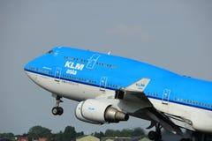 Amsterdam Nederländerna - Juni 2nd, 2017: PH-BFY KLM Boeing 747-406 Royaltyfri Foto