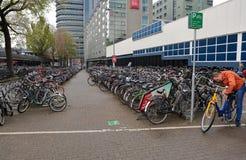 AMSTERDAM Nederländerna - Maj 13, 2017: Mycket cyklar på anseende Arkivbild