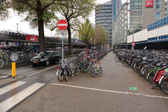 AMSTERDAM Nederländerna - Maj 13, 2017: Mycket cyklar på anseende Royaltyfria Foton