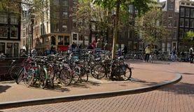 AMSTERDAM Nederländerna - Maj 13, 2017: Mycket cyklar parkering och Royaltyfria Bilder