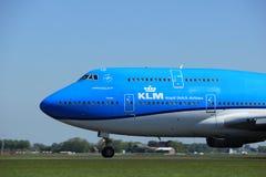Amsterdam Nederländerna - Maj 4th 2018: Flygbolag Boeing 747-400M för PH-BFT KLM Royal Dutch Fotografering för Bildbyråer
