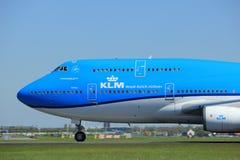 Amsterdam Nederländerna - Maj 4th 2018: Flygbolag Boeing 747-400M för PH-BFT KLM Royal Dutch Arkivbilder