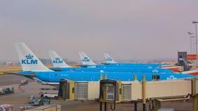 Amsterdam Nederländerna - mars 11, 2016: KLM flygplan som parkeras på den Schiphol flygplatsen royaltyfri foto