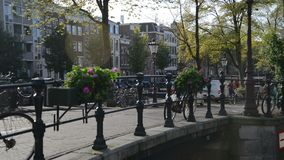 amsterdam Nederländerna Oktober 15, 2017 Tid för cykeltrafik schackningsperiod Amsterdam, Nederländerna Amsterdam är ett stort lager videofilmer