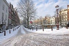 amsterdam Nederländernasnow Royaltyfri Bild