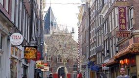 Amsterdam, Nederland - 3 April 2017: Aziatische voedselstraat en hos stock afbeelding