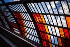 AMSTERDAM, NEDERLAND - AUGUSTUS 15, 2016: Glazen van Centrale Post van het close-up van Amsterdam Amsterdam - Nederland Royalty-vrije Stock Foto