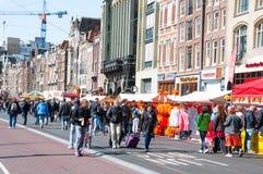 AMSTERDAM, NEDERLAND: Rokin tijdens de Dag van de Koning op 27,2015 April in Amsterdam Royalty-vrije Stock Foto