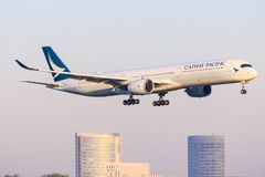 Airbus A350 from Cathay stock photos