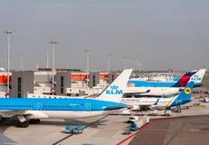 AMSTERDAM NETHERLAND - OKTOBER 18, 2017: Internationell Amsterdam flygplats Schiphol med flygplan i bakgrund Beskåda däckplac arkivfoton