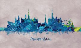Amsterdam Capital of the Netherlands, Skyline. Amsterdam, Netherlands' capital, known for its artistic heritage, elaborate canal system and narrow houses royalty free illustration