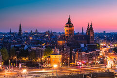 Amsterdam, the Netherlands. Amsterdam skyline shortly after sunset (the Netherlands stock photo