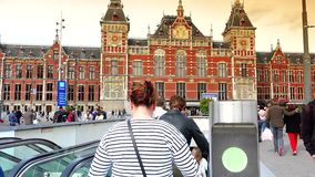 AMSTERDAM, NETHERLANDS :Amsterdam Central Train Station in Amsterdam.ULTRA HD 4k, real time