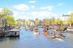 AMSTERDAM, NETHERLANDS - APR 27: People celebrating Kings Day Stock Image
