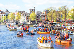 AMSTERDAM, NETHERLANDS - APR 27: People celebrating Kings Day Stock Photos