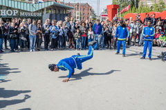 Amsterdam, Netherlands - April 31, 2017 - The Ajax Amsterdam breakdancing group performing in the city at the I Royalty Free Stock Image