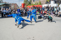 Amsterdam, Netherlands - April 31, 2017 - The Ajax Amsterdam breakdancing group performing in the city at the I Stock Photo
