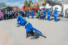 Amsterdam, Netherlands - April 31, 2017 - The Ajax Amsterdam breakdancing group performing in the city at the I Royalty Free Stock Images