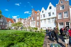 Amsterdam, Netherlands-April 30: Begijnhof in old town of Amsterdam on April 30,2015. Stock Image