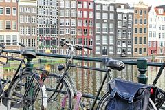 Bicycle and typical architecture in Amsterdam, Netherlands Stock Photo