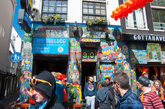 AMSTERDAM,NETHERLANDS-APRIL 27: Bulldog coffeeshop in red-light district on King's Day on April 27,2015 in Amsterdam,Netherlands. Stock Photography