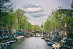 AMSTERDAM, NETHERLANDS - APRIL 29, 2016: View of the street, cytiscape Royalty Free Stock Photography