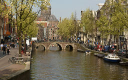 Amsterdam, Netherlands-April: Canal in Amsterdam Stock Photos